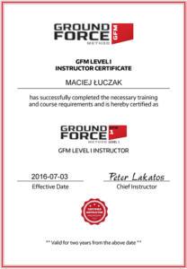 Certyfikat GFM Maciej Luczak